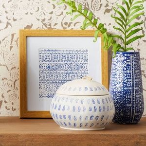 threshold Blue Block-Print Jar